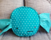 Pillow GIANT Wrapped Candy - Teal Polkadots - Sweet Home Decor