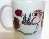 Owls At Teatime - 11 ounce coffee mug