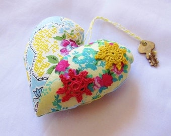SALE Heart Ornament Bowl Filler Key To My Vintage Skeleton Key Sis Boom Yellow Blue Patchwork Shabby Chic Rustic Doilies Flowers Pin Cushion