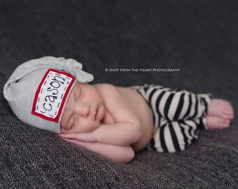 Name hat, personalized hat, knot beanie, photography prop, baby hat, knots, newborn photography prop, hospital hat, name announcement
