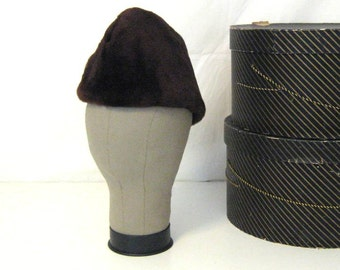 Vintage Winter Hat Brown Hat Biltmore Hat Mens Hat Made in Canada Brown Mouton Lamb Hat Hat with Ear Flaps Furry Brown Hat Mens Winter Hat