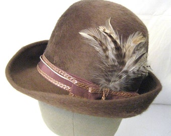 60s Womens Hat Taupe Hat Feather Trim Hat Brimmed Hat Womens Winter Hat 1960s Hat Feather Fur Felt Womans Hat Light Brown Hat