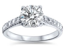 2.27CT Diamond Engagement Ring 2ct Center 14K White Gold Cathedral Clarity Enhanced