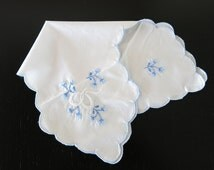 Vintage White Bun Keeper Blue Embroidery 143a