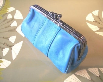 Retro leather purse, leather wallet, light blue clutch, leather make up bag in light blue, romantic leather purse.