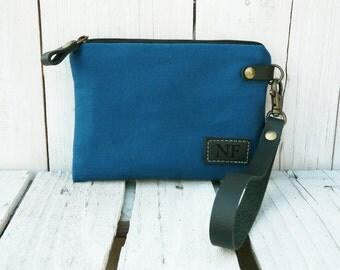 Monogrammed Wristlet Personalized Clutch Petrol blue canvas pouch Wristlet Case Bag Leather engraved label