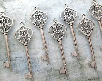 Ivernois Antique Silver Skeleton Key  - Set of 10