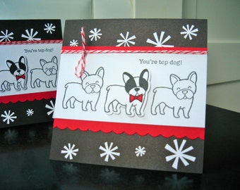 French Bulldog Birthday Card, Any Occasion Dog Card, Congratulations Card, You're Top Dog, Frenchie Card