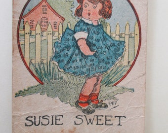 Antique Playing Card - Old Maid, Susie Sweet, children, game