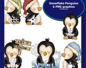 Snowflake Penguins (6 PNG graphics Small commercial use)