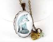 Hand Drawn Blue Fox Necklace - Animal Art Oval Lace Antique Brass Bronze Jewelry, Metal Chain