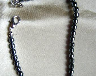 Hematite Beaded Ankle Bracelet , Nine Inch Bracelet