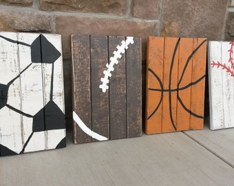 Set of THREE vintage wood sports signs, Sports decor, wood sports signs, sports room decor