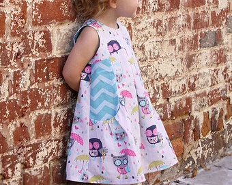 Lily Bird Studio PDF sewing pattern Angelique baby dress - newborn to 24 mths - high waist, wide gathered pockets