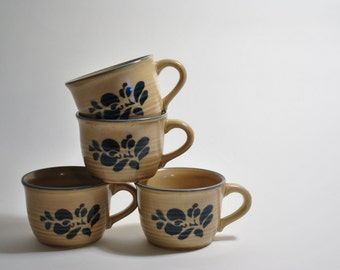 Set of four vintage Pfaltzeraff Cups Mugs Blue Flowers