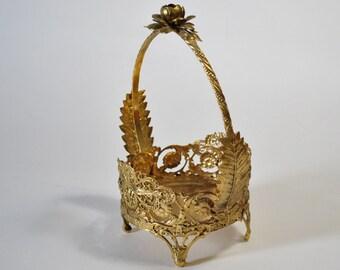 Vintage Vanity Powder Box Gold Filigree Roses Flower Basket