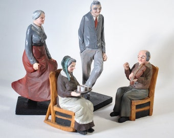 Hand Carved Figurines Wooden Folk Art Sculptures