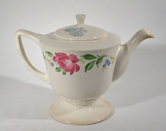 Pretty Homer Laughlin Teapot Roses Old C 45 N6