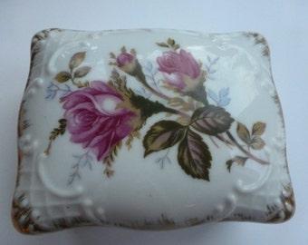 Vintage Porcelain Dish with Ashtray Inside Flowered Porcelain Ashtray Holder Marked Shaffer