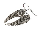 Oxidized silver wing earrings - sterling silver ear wires - sterling silver earrings - silver wing jewelry - angel wing earrings