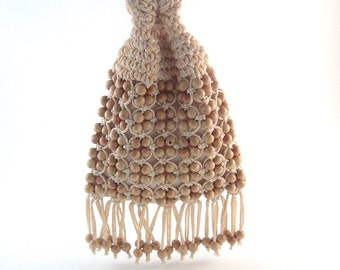 Vintage 70s Drawstring Pouch Beaded Bag Raffia Straw Crochet Walborg Japan Fringed