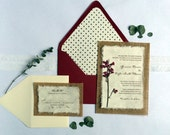 Do It Yourself  D-I-YRustic Burlap Coral Bells Wedding Invitation