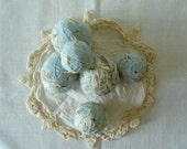 Shabby French Farmhouse Blue Fabric Balls by WeeWoollyBurros