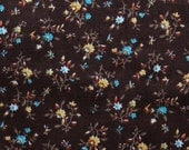 """Retro Floral Fabric with Brown Background - 20"""" x 16"""""""