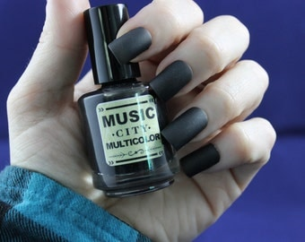 Man In Black- Music City Multicolor matte black nail polish Nashville