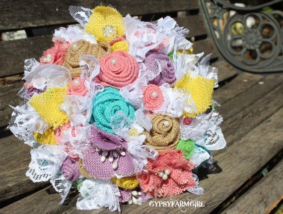 Burlap Bouquet for spring garden wedding