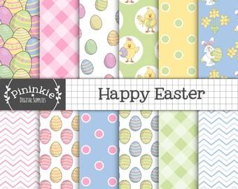 Easter Digital Paper, Easter Egg, Bunny, Spring Digital Scrapbook Paper, Pastel, Polka Dots, Gingham, Chevron, Pink, Blue, Yellow, Green