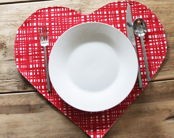 Red and White Heart Placemats - Set of 2 or 4