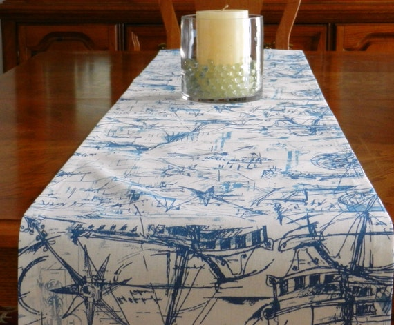 Nautical Boats Table Runner Blue On White 15 X 72 Wedding