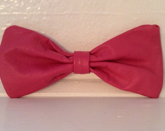 Oversized hot pink leather hair bow