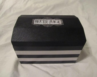 Beetlejuice Keepsake Storage Black & White Striped Stash Box