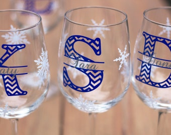 Christmas wine glasses, 3 chevron monogram, snowflake glasses personalized holiday or winter wedding, bride and groom gift idea