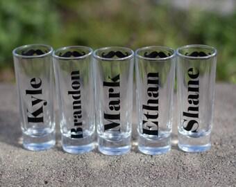1 Mustache shot glasses, groomsman gift.  Best man gift idea. Shooter glass. Bachelor party shot glass.