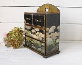 Shabby Black Hydrangea Wooden Mini chest drawers,jewelry organizer ,rustic style,Vintage look decoupage,Boho stile,black, beige, gold