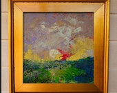 Art Painting Landscape Painting Original Impasto Impressionist painting on Wood Panel  Southern Marsh Art 12 x 12 inches or Framed  Art
