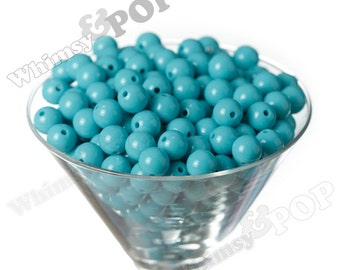 12mm - Aqua Blue Gumball Beads, 12mm Gumball Beads, 12mm Beads, Small Gumball Beads, Opaque Acrylic Round Beads, 2mm Hole