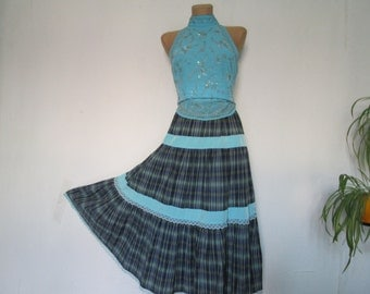 Full Cotton Skirt Vintage / Size EUR38 / UK10 / Frill / Lace
