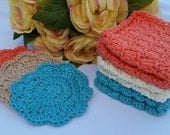 Crocheted 100% Cotton Bath/Shower Set - 3 Wash Cloths - Coral, Ivory, Turquoise Set 3 Scrubbies - Coral, Tan, Turquoise