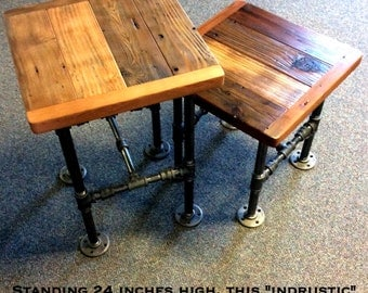 Superior Industrial Side Table With Reclaimed Wood And Black Pipe (24 Inches Tall)