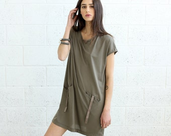 SALE!T-shirt Dress With Leather Details, Grey.