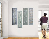 Abstract Painting,  40'' Original Metallic Deep Textued  Palette Knife Painting,   Ready to Hang