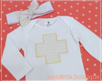 Baby Bodysuit and Headband Set Gold Dot Plus Sign or Initial  Baby Shower Gift Photo Prop Baby Nursery Modern Baby