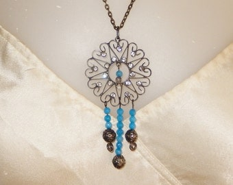 Gemstone necklace with a Rhinestone pendant, South African blue Topaz beads, oxidized silver beads and a bronze tone chain, Natural stone