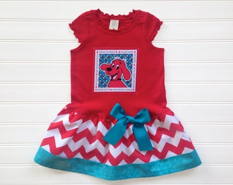 Girls Custom Boutique Dress Big Red Dog Dress Birthday Dress Girls Dresses Girls Birthday Dog Red Kids Available 0-3 months through Size 6/8