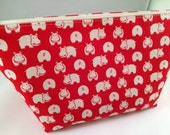 Red, Brown, Black or Cream Hippos Makeup Bag, Cosmetic Bag, Toiletry Bag, Knitting Project Bag