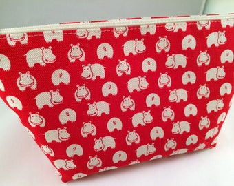 Red, Brown, Black or Cream Hippos Makeup Bag, Cosmetic Bag, Toiletry Bag, Knitting Project Bag